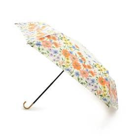 フラワーブルーム晴雨兼用折り畳み傘 (オフホワイト)