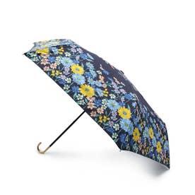 フラワーブルーム晴雨兼用折り畳み傘 (ネイビー)