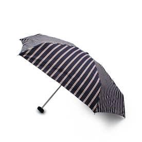 アイビーストライプコンパクト晴雨兼用折り畳み傘 (ネイビー)