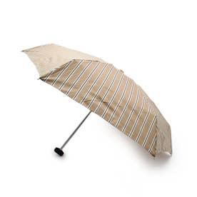 アイビーストライプコンパクト晴雨兼用折り畳み傘 (ライトベージュ)