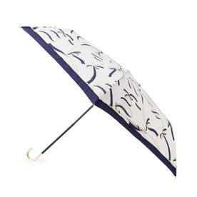継続はっ水ウェーブリボン折り畳み傘 (ネイビー)