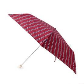 継続はっ水ストライプ折り畳み傘 (ボルドー)