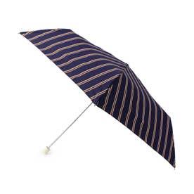 継続はっ水ストライプ折り畳み傘 (ネイビー)