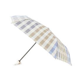 継続はっ水チェック折りたたみ傘 (ライトブルー)