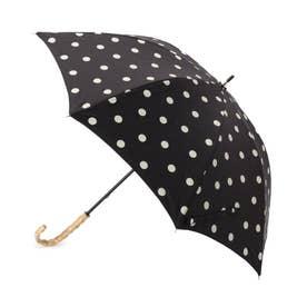 ドットバンブーハンドル日傘(長傘・晴雨兼用) (ブラック)