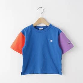 【110-120cm】champion バイカラーTシャツ (ブルー)