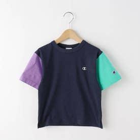 【110-120cm】champion バイカラーTシャツ (ネイビー)