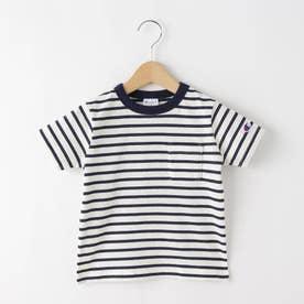 【100-130cm】champion ボーダーTシャツ (ホワイト)