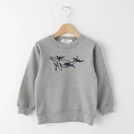 【110-130cm】クジラ刺しゅう裏毛トレーナー (グレー)