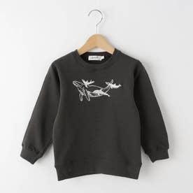【110-130cm】クジラ刺しゅう裏毛トレーナー (チャコールグレー)