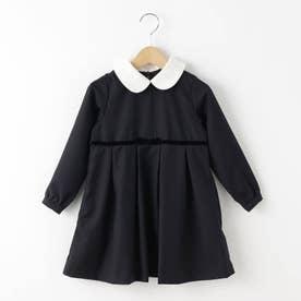 【110-120cm】付け衿ツイルワンピース (ネイビー)