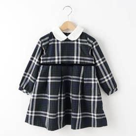 【110-120cm】付け衿ツイルワンピース (モスグリーン)