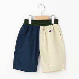 【110-120cm】Champion コットン(綿)配色ハーフパンツ (ネイビー)