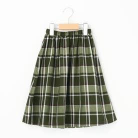 【110・130cm】チェックフレアスカート<ママとおそろい> (カーキ)