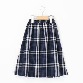 【110・130cm】チェックフレアスカート<ママとおそろい> (ネイビー)