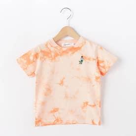 【110-130cm】強撚天竺タイダイ刺しゅうTシャツ (オレンジ)