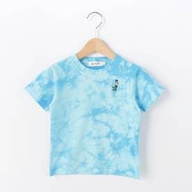 【110-130cm】強撚天竺タイダイ刺しゅうTシャツ (ブルー)