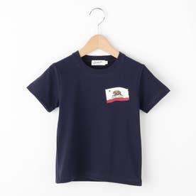 【100~140cm】カリフォルニアフラッグ天竺Tシャツ (ネイビー)
