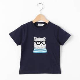 【100~140cm】ベアグラフィッククルーネックTシャツ (ネイビー)