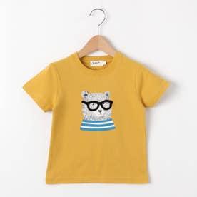 【100~140cm】ベアグラフィッククルーネックTシャツ (レモンイエロー)