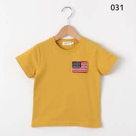 【100~140cm】ワッペン使いクルーネックTシャツ (レモンイエロー)