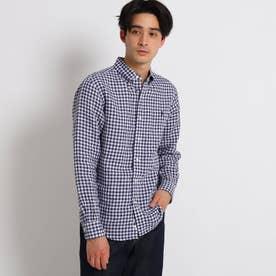 Gymphlex リネンボタンダウンシャツ (ネイビー)