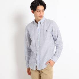 Gymphlex リネンボタンダウンシャツ (ブルー)
