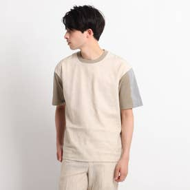 綿麻シャンブレー&ジャージTシャツ (オリーブグリーン)
