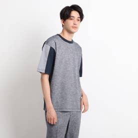 綿麻シャンブレー&ジャージTシャツ (ネイビー)