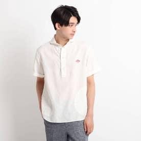 DANTON リネン丸襟半袖シャツ (ホワイト)