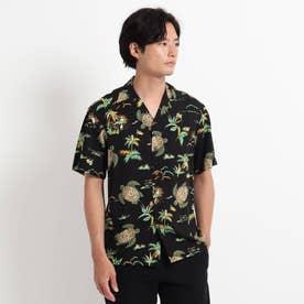 TWO PALMS ハワイアン柄アロハシャツ (ブラック)