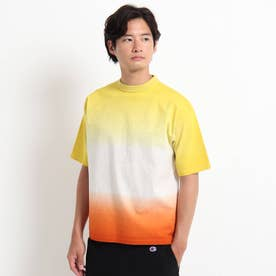 グラデ天竺衿ニットTシャツ (オレンジ)