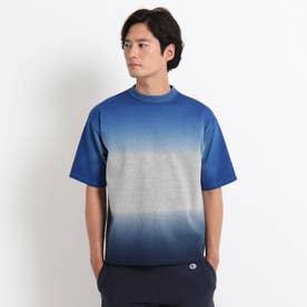 グラデ天竺衿ニットTシャツ (ブルー)