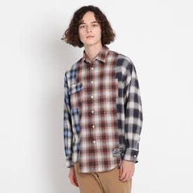 チェック切替ネルシャツ (ブルー)