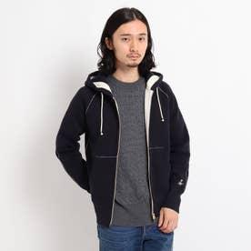 【M~LLサイズあり・日本製・洗える】つり裏毛フーデット (ダークネイビー)