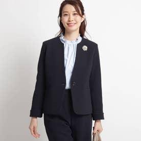 【ママスーツ/入学式 スーツ/卒業式 スーツ S~Lサイズあり 洗える】リップルポンチジャケット (ネイビー)