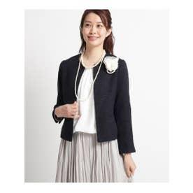 【ママスーツ/入学式 スーツ/卒業式 スーツ S~Lサイズあり】メランジツイードノーカラージャケット (ネイビー)