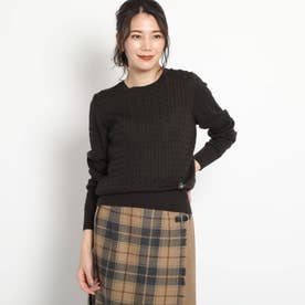 【S・Lサイズあり・日本製・ウール 100%】ケーブルニット (ディープブラウン)