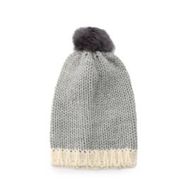 CLIPPER CASUALS ラビットファーウールニット帽 (チャコールグレー)
