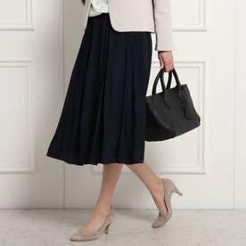 【ママスーツ/入学式 スーツ/卒業式 スーツ S~Lサイズあり 洗える】パウダーサテンスカート (ネイビー)