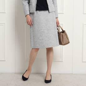 【ママスーツ/入学式 スーツ/卒業式 スーツ】ツイード台形スカート (サックス)