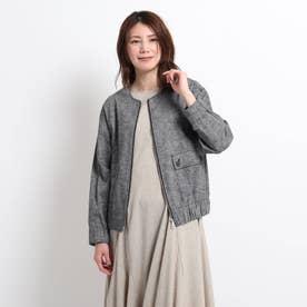 【S~M】綿麻シャンブレー ノーカラージャケット (チャコールグレー)