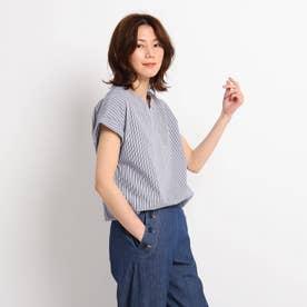 【XS~L】スキッパーブロードシャツ (ブルー)