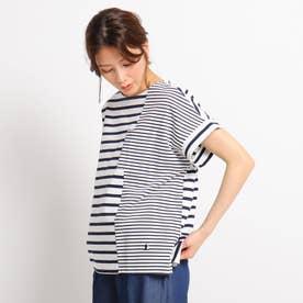 【XS~L/洗える/日本製】切り替えボーダーTシャツ (アイボリー)