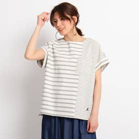 【XS~L/洗える/日本製】切り替えボーダーTシャツ (グレー)
