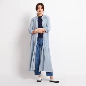 【XS~L/洗える】パウダーサテン5分袖シャツワンピース (ライトブルー)