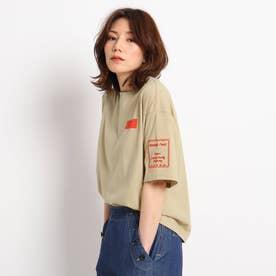 【S~M】袖刺しゅうTシャツ (ライトベージュ)
