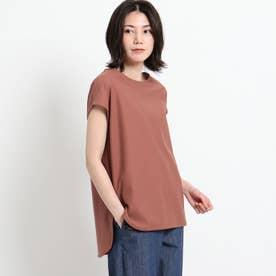 【XS~L・手洗い可能】シャツテールTシャツ (ブラウン)