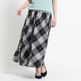 【XS~L・ウエストゴム】ガーゼチェックロングスカート<上品カジュアル> (ブラック)