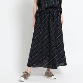 【XS~L・ウエストゴム】ガーゼチェックロングスカート<上品カジュアル> (ダークグリーン)